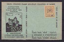 D193 / SAUMUR TIMBRE DE GREVE SUR CARTE - Collections
