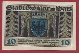 Allemagne 1 Notgeld  De 10 Pf Stadt  Goslar Am Harz  (RARE) Dans L 'état   Lot N °226 - Verzamelingen