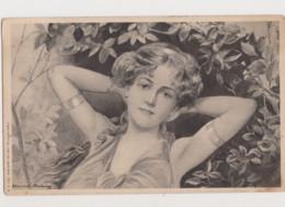 Carte Dessinée Signée Edmond Brüning  .Style Art Nouveau /Jeune Femme Nonchalante - Unclassified