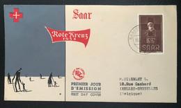 Saar 1954 Rote Kreuz FDC Von Saarbrücken Ziel Brussel - Covers & Documents