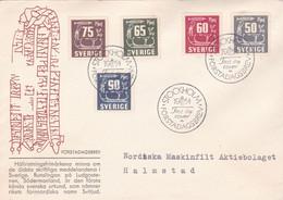SUÈDE. RUNSLINGAN PÅ LUDGOSTENEN, TAILLE DE ROCHE. ANNEE 1954 FDC ENVELOPPE, CIRCULEE.- LILHU - Archéologie