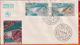 FDC-Editions  JF# Maroc-Marokko-Morocco-1967-(N° Yvert 517-18  ) Sites & Monuments - Barrage  D' Ait Aadel , - Marruecos (1956-...)