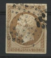 N° 13B  10 Ct Brun-clair Type II Cote 35 € Oblitéré, Aucun Défaut, Qualité TB - 1853-1860 Napoléon III.