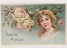Carte Fantaisie Gaufrée / Portrait D'une Jeune Femme , Roses - Women