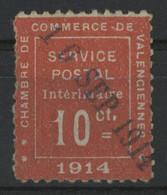 Timbre De Guerre N°1 Cote 525 € 10 Ct Vermillon SIGNE CALVES Oblitéré Dateur Linéaire Bleu Du 16/SEP/1914  (description) - Oorlogen