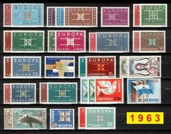 Europa CEPT 1963 Annata COMPLETA 36 Fbolli Nuovi **/MNH - Années Complètes