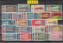Europa CEPT 1969 Annata COMPLETA 52 Fbolli Nuovi **/MNH - Années Complètes