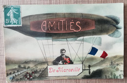 CPA AMITIES DE MARSEILLE. Homme Dans Un Dirigeable. Fantaisie Photo-Montage - Ohne Zuordnung