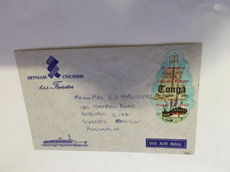(RR 26) Very Old Tonga Posted To Australia - With Sailing Ship Shape Stmp (on TSS Cruise Shio Envelope) - Tonga (1970-...)