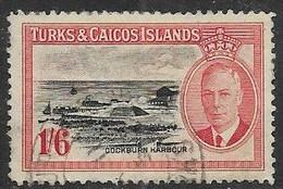 Turks & Caicos 1950  Sc#114   1sh6d  Used    2016 Scott Value $5.25 - Turks & Caicos