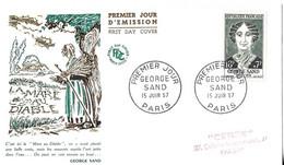 GEORGE SAND PARIS 1957, ENVELOPPE ILLUSTREE 1ER JOUR LA MARE AU DIABLE, VOIR LES SCANNERS - Cartas