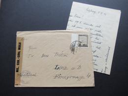 Österreich 1946 Zensurbeleg Military Censorship Civil Mails Interessanter Inhalt Suchanfrage / Lager DEF Camp Hallein - 1945-60 Covers