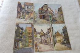 LOT DE 6 CPA ALSACE..(RIQUEWIHR 2..COLMAR 2..EGUISHEIM ET KAISERSBERG) - 5 - 99 Postcards