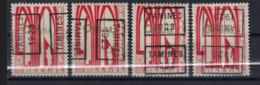 Zegel Nr. 258 éérste ORVAL Voorafgestempeld Nr. 4912  A + B + C + D  TAMINES  1929 , Staat Zie Scan ! - Roller Precancels 1920-29