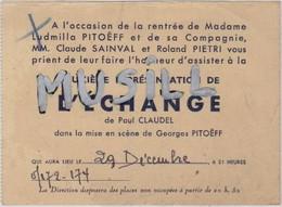 """Invitation à La Deuxième Représentation De """"L'Echange"""" De Paul Claudel ( Avec Ludmilla Pitoëff). - Theater, Kostüme & Verkleidung"""