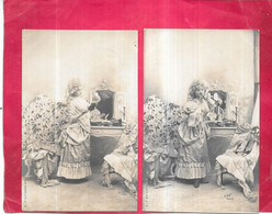 2 CPA DOS SIMPLE FANTAISIE - Belle Femme En Train De Se Maquiller - Edit JALLY - RIS - - Mujeres