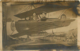 CARTE PHOTO SURREALISME AVIATION SPIRIT OF SAINT LOUIS - Photographs