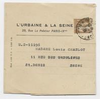 PAIX 45C BRUN SEUL BANDE COMPLETE PARIS 1936 POUR ST DENIS AU TARIF - 1932-39 Paz
