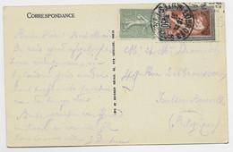 JEUX OLYMPIQUES 30C RARE + 15C SEMEUSE LIGNEE  CARTE LOURDES .1924 POUR BELGIQUE AU TARIF - 1921-1960: Modern Period