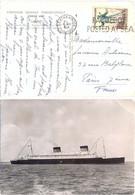 SOUTHAMPTON PAQUEBOT OMec FRANKERS 8 MAY 1954 PAQUEBOT / POSTED AT SEA Sur CP Cie GENERALE TRANSATLANTIQUE « LIBERTÉ » - Correo Marítimo