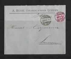 1905 HEIMAT LUZERN → Briefumschlag A.Russi Colonialwaren Luzern Nach Sarnen - Covers & Documents