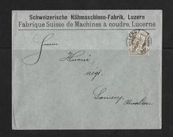 1902 HEIMAT LUZERN → Briefumschlag Schw.Nähmaschinen-Fabrik Luzern Nach Sarnen - Covers & Documents