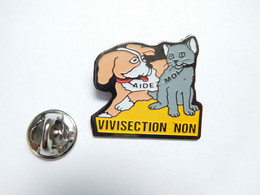 Beau Pin's Pins , Chat Cat , Chien Dog , Vivisection NON , Signé Saggay - Animali