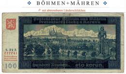 Böhmen U. Mähren Ro.560a STAATSNOTE 100 KRONEN 1940 = Bohemie, Billet De Banque = PICK #5/6 Banknote Bohemia & Morarvia - WW2