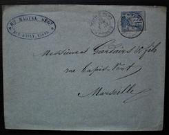 Alger 1888 Martel Négociant Rue D'Isly, Lettre Avec Cachet Marseille Ligne D'Alger, Pour Marseille - 1877-1920: Periodo Semi Moderno