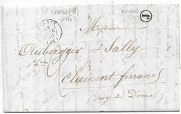 GRASSE (78) CAD T.15, Taxe 2 Manuscrite Boite Rurale J De MOUANS...1850 Pour Clermont-Ferrand - 1849-1876: Klassieke Periode