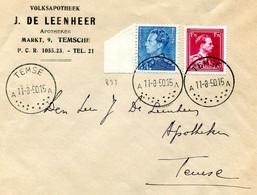 1950 R- Enveloppe Van Apotheek De Leenheer TEMSE A - Zegels 832 + 833 Recommandée - Mooie Stempel - 1936-1951 Poortman