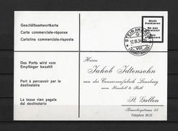1934 HEIMAT SCHAFFHAUSEN → Geschäftsantwortkarte Konsum-Verein Stein Am Rhein Nach Lenzburg Konservenfabrik - Covers & Documents