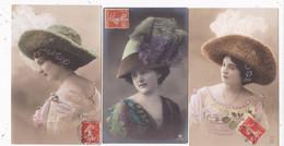 LOT/004.........3  CPA FEMMES AVEC CHAPEAUX - 5 - 99 Postcards