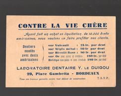 Bordeaux (33 Gironde) Carte CABINET DENTAIRE /DENTISTE  Y Le Duigou (tarif Au Verso)  (PPP29574) - Pubblicitari