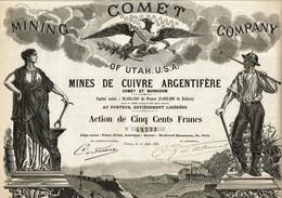 USA. COMET MINING CY OF UTAH USA.  Voir Description.   1883.  Déco A. RENARD   Lot De 4 - Other