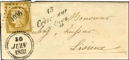 PC 1036 / N° 1 Cursive 13 / Crèvecoeur / En-Auge Dateur B 30 JUIN 1852 Sur Lettre Avec Texte Adressée à Lisieux. - SUP.  - 1849-1850 Ceres