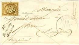 Grille / N° 1 Càd T 13 FLORAC (46) Cursive 46 / Barre-des- / Cévennes Sur Devant De Lettre Adressée à Florac. 1851. - SU - 1849-1850 Ceres