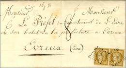 PC 3533 (Vernon) / N° 1 Bistre Brun Paire Sur Lettre 3 Ports Insuffisamment Affranchie Pour Evreux. Au Recto, Taxe 8 Et  - 1849-1850 Ceres