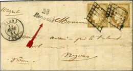 Grille / N° 1 Paire, Belles Marges Càd T 15 NYONS (25) Cursive 28 / Rémusat Sur Lettre Avec Texte Adressée En Double Por - 1849-1850 Ceres