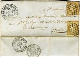 Grille / N° 1 (2ex, Def) Càd T 14 GRENADE-S-GARONNE 31 AOUT 1851 Sur Lettre Adressée Au Tarif De Militaire à Un Voltigeu - 1849-1850 Ceres