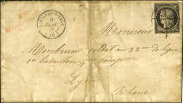Plume + Càd T 15 LÉVIGNAC-S-SAVE (30) 9 JANV. 49 / N° 3 Cursive Rouge 30 / Mondonville Sur Lettre Avec Texte Daté De Mer - 1849-1850 Ceres