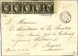 Càd T 15 BORDEAUX (32) 9 JANV. 49 / N° 3 Bande De 5, Bdf, (qlq Def) Sur Lettre 3 Ports Pour Angers. - TB. - RR. - 1849-1850 Ceres