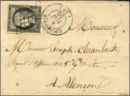 Grille / N° 3 Belles Marges Càd T 15 COURTOMER (59) 4 MAI 50 Sur Lettre Avec Texte Pour Alençon. Rarissime Bureau De Dis - 1849-1850 Ceres