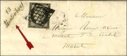 Grille / N° 3 Belles Marges Cursive 15 / Montemboeuf Sur Lettre Avec Texte Daté Du 5 Mars 1849 Pour Murat. - TB / SUP. - - 1849-1850 Ceres