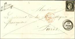 Grille / N° 3 Belles Marges Cursive 16 / St-Hilaire- /de-Saintonge Sur Lettre Adressée Au Président De La République Fra - 1849-1850 Ceres