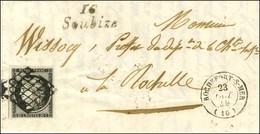 Grille / N° 3 Noir Sur Blanc Càd T 15 ROCHEFORT-S-MER (16) Cursive 16 / Soubize Sur Lettre Avec Texte Pour La Rochelle.  - 1849-1850 Ceres