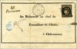 Grille / N° 3 Belles Marges Càd T 15 VALENCAY (35) Cursive 35 / Poulaines Sur Lettre Avec Texte Et Adresse Imprimée Et E - 1849-1850 Ceres