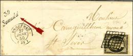 Grille / N° 3 Belles Marges Càd T 15 HAGETMAU (39) Cursive 39 / Samadet Sur Lettre Pour St Sever. - TB / SUP. - R. - 1849-1850 Ceres