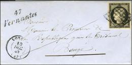 Grille / N° 3 Très Belles Marges Càd T 15 LONGUE (47) Cursive 47 / Vernantes Sur Lettre Avec Texte Pour Baugé. - SUP. -  - 1849-1850 Ceres