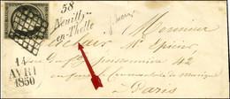 Grille / N° 3 Belles Marges Cursive 58 / Neuilly / En-Thelle Sur Enveloppe Petit Format Pour Paris, Dateur A. 1850. - SU - 1849-1850 Ceres